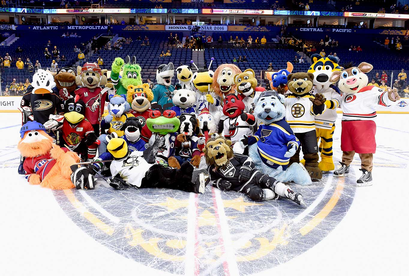 All team mascots pose for Atlantic Division All-Stars group picture after competing in the Mascot Game 2016 as part of the 2016 NHL All-Star Weekend at Bridgestone Arena in Nashville, Tenn.