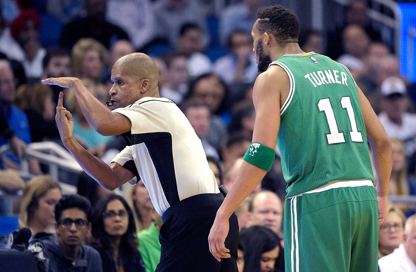 Boston Celtics guard Evan Turner receives a double-technical foul from referee Sean Corbin is ejected from the game after arguing a call during the game against the Orlando Magic. The Magic won 119-114.