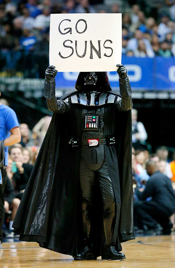 A person dressed as Darth Vader shows support for Phoenix as it faced the Dallas Mavericks in Texas. The Mavericks won 91-78.