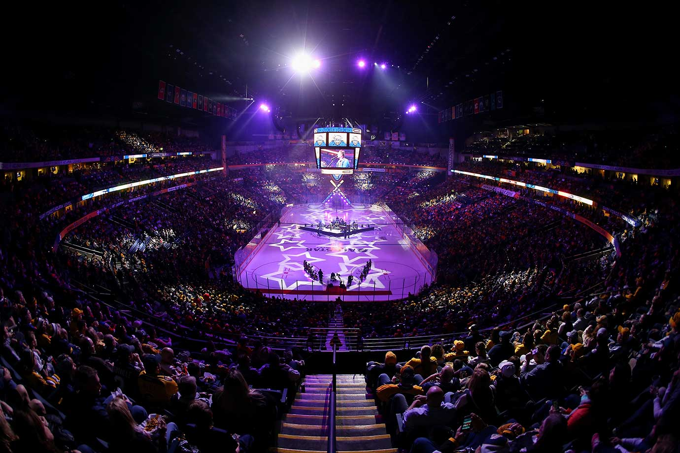 An elevated general view of the ice prior to the Eastern Conference Semifinal Game between the Atlantic Division and the Metropolitan Division as part of the 2016 Honda NHL All-Star Game at Bridgestone Arena in Nashville.