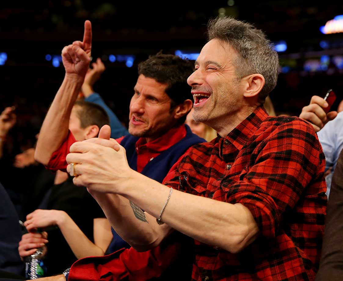 Mike D and Adam Horovitz of the Beastie Boys attend the game between the New York Knicks and the Golden State Warriors at Madison Square Garden.  (