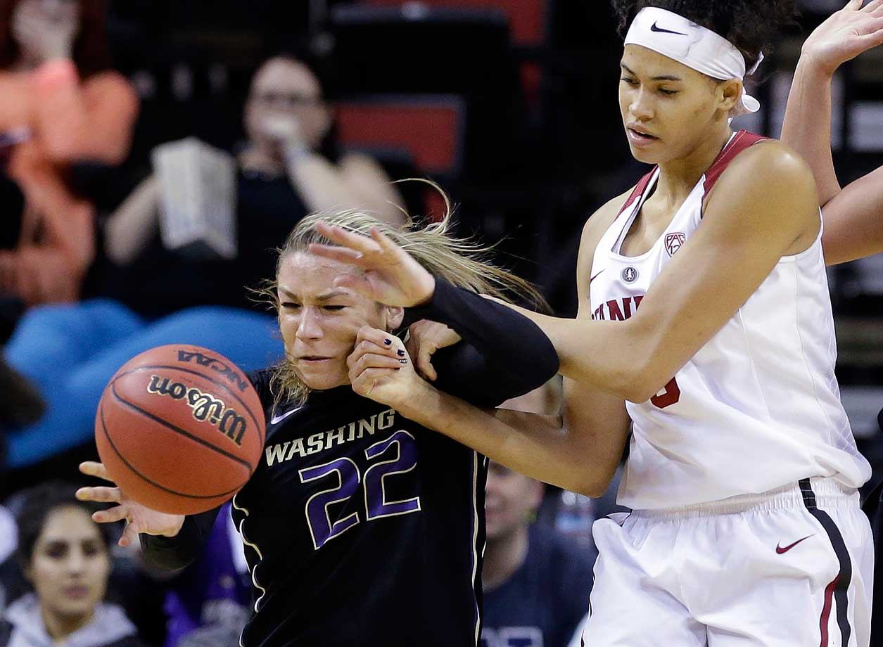 Washington's Alexus Atchley steals the ball from Stanford's Kaylee Johnson.