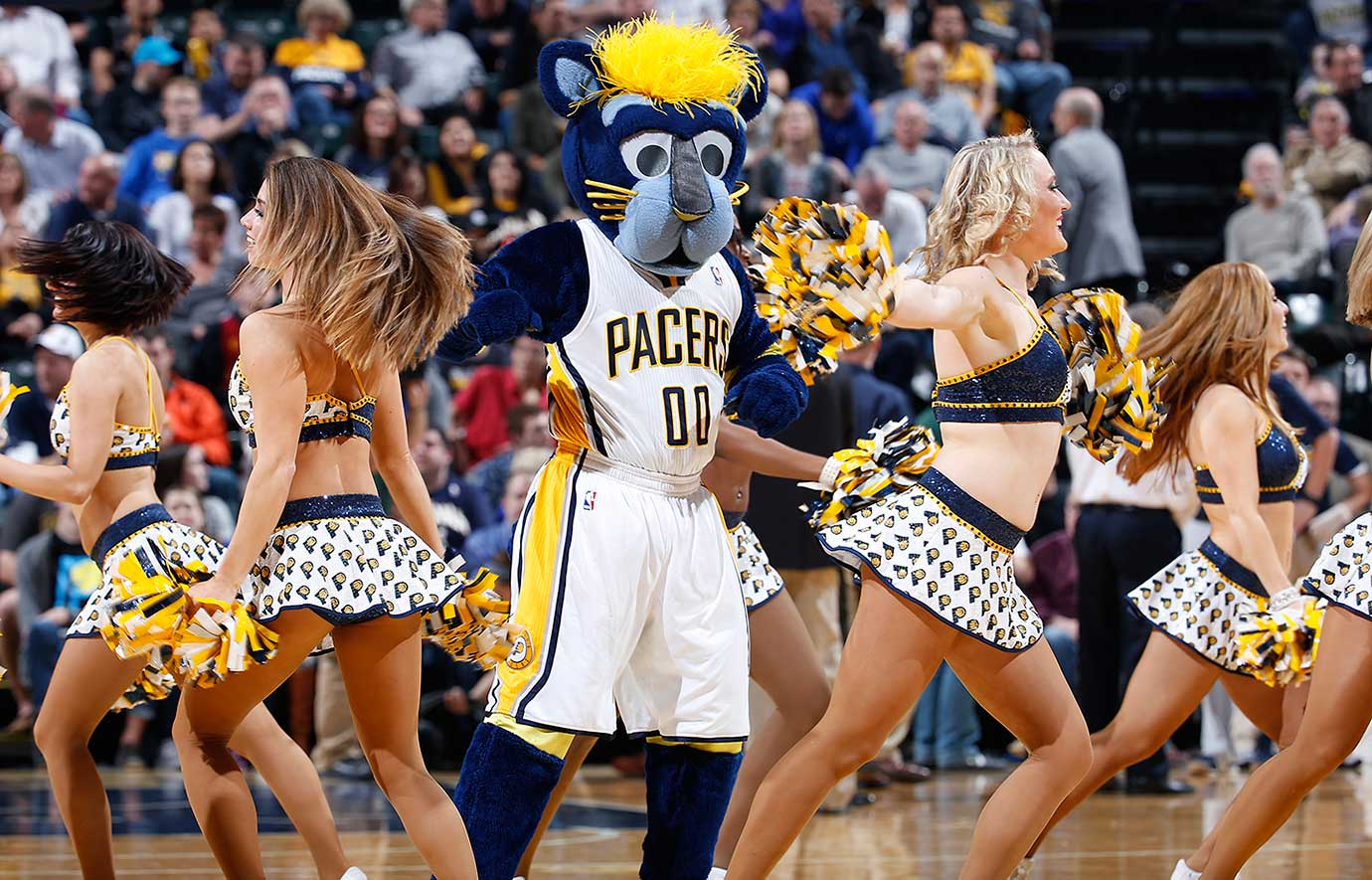 Indiana Pacers mascot Boomer dances with cheerleaders during a timeout in the game against the San Antonio Spurs.