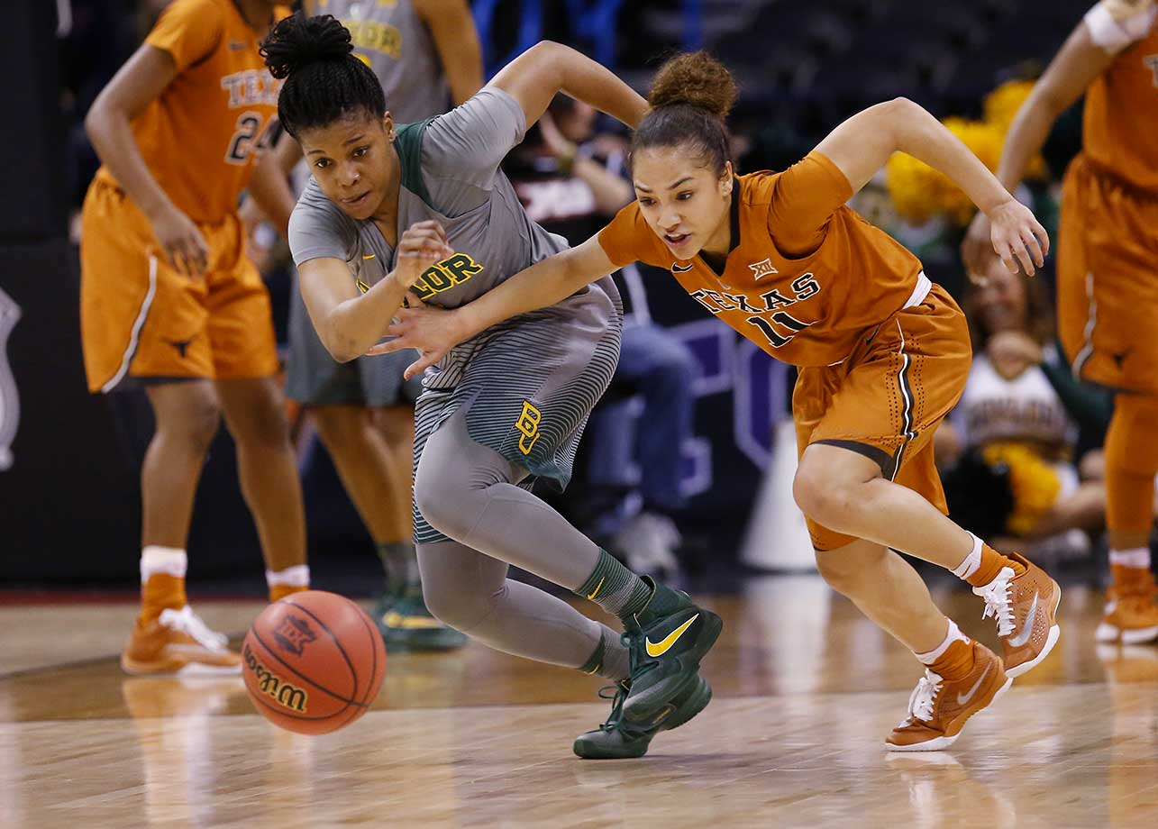 Here are some of the images that caught our eye on the sports night of March 7, starting with Baylor guard Niya Johnson and Texas guard Brooke McCarty chasing a loose ball in the Big 12 women's tournament championship game.