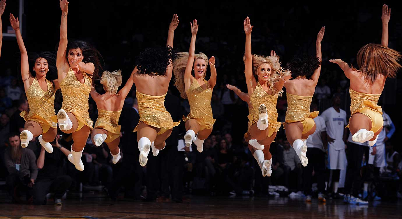 Dancers perform during the game between the New York Knicks and Denver Nuggets.