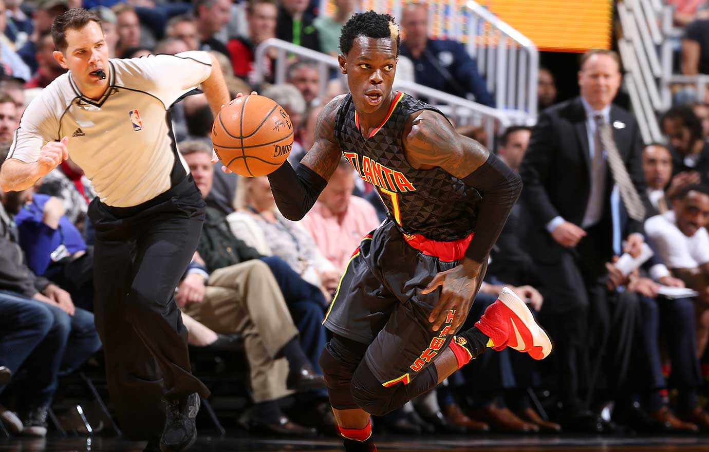Dennis Schroder of the Atlanta Hawks handles the ball against the Utah Jazz.