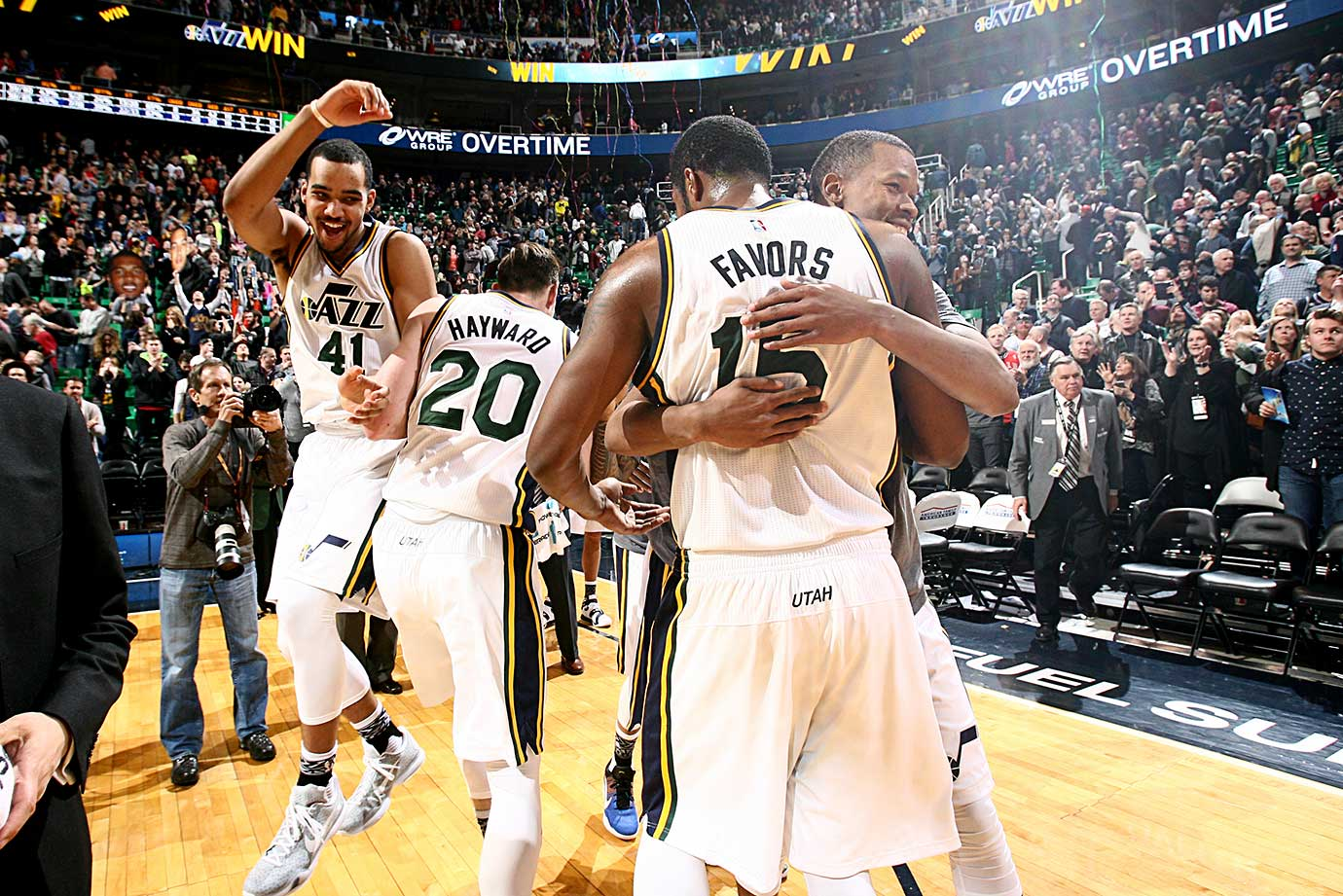 The Utah Jazz celebrate their victory over the Chicago Bulls at EnergySolutions Arena in Salt Lake City.