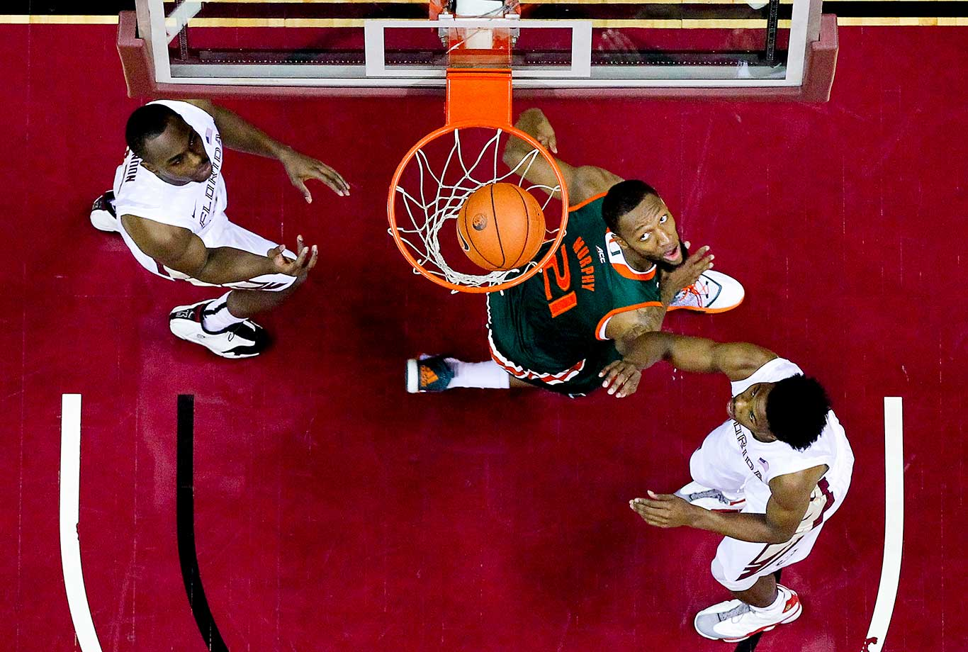 Kamari Murphy of the Miami Hurricanes watches the ball go into the basket during a game against Florida State.