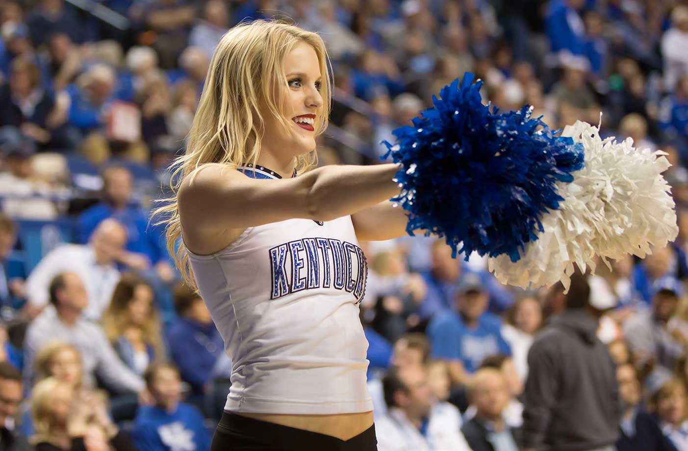 A Kentucky Wildcats dance team member during a home game against the Tennessee Volunteers.