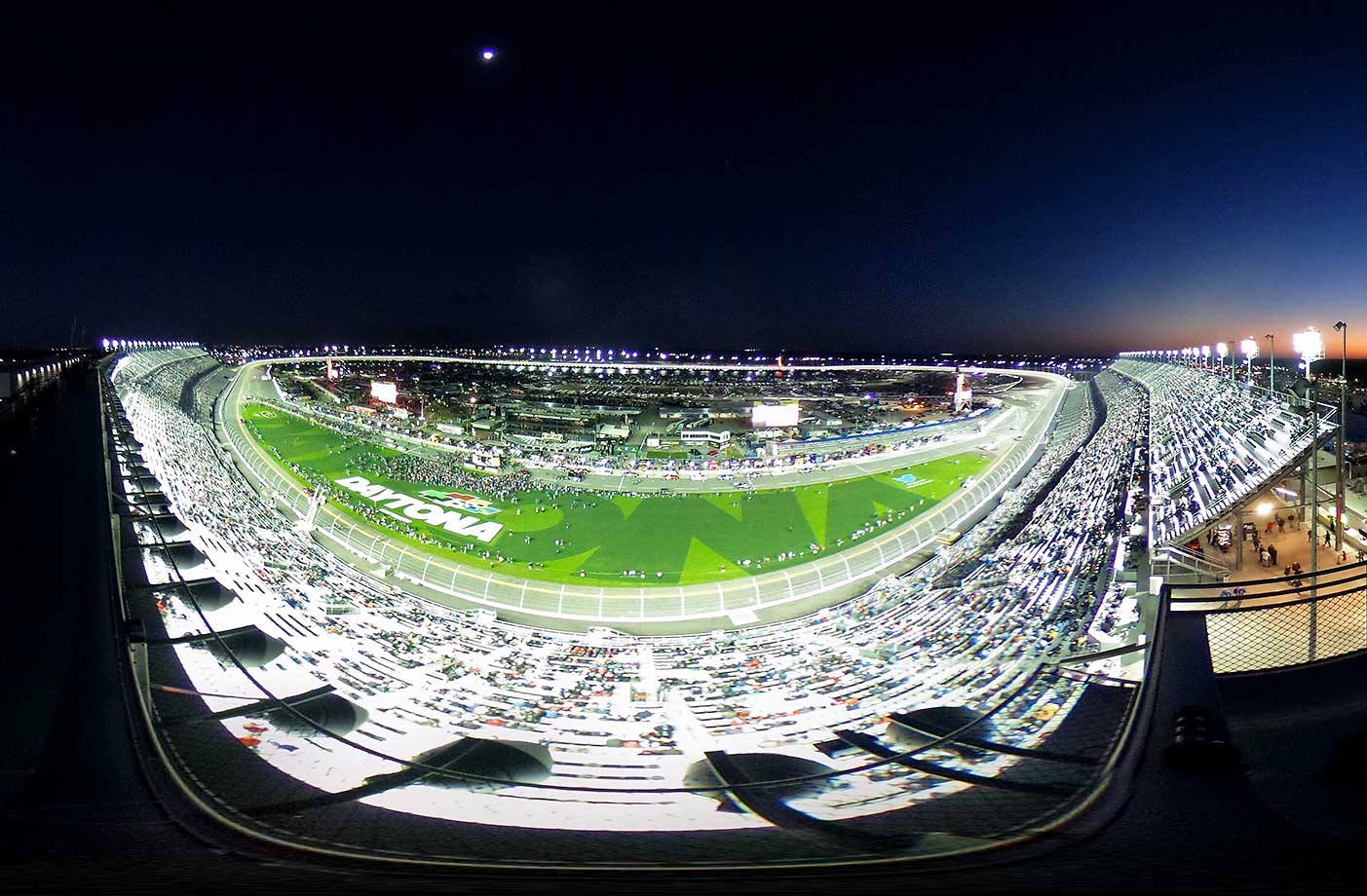 A general view of the atmosphere during driver introductions prior to the start of the NASCAR Sprint Cup Series Can-Am Duels at Daytona International Speedway.