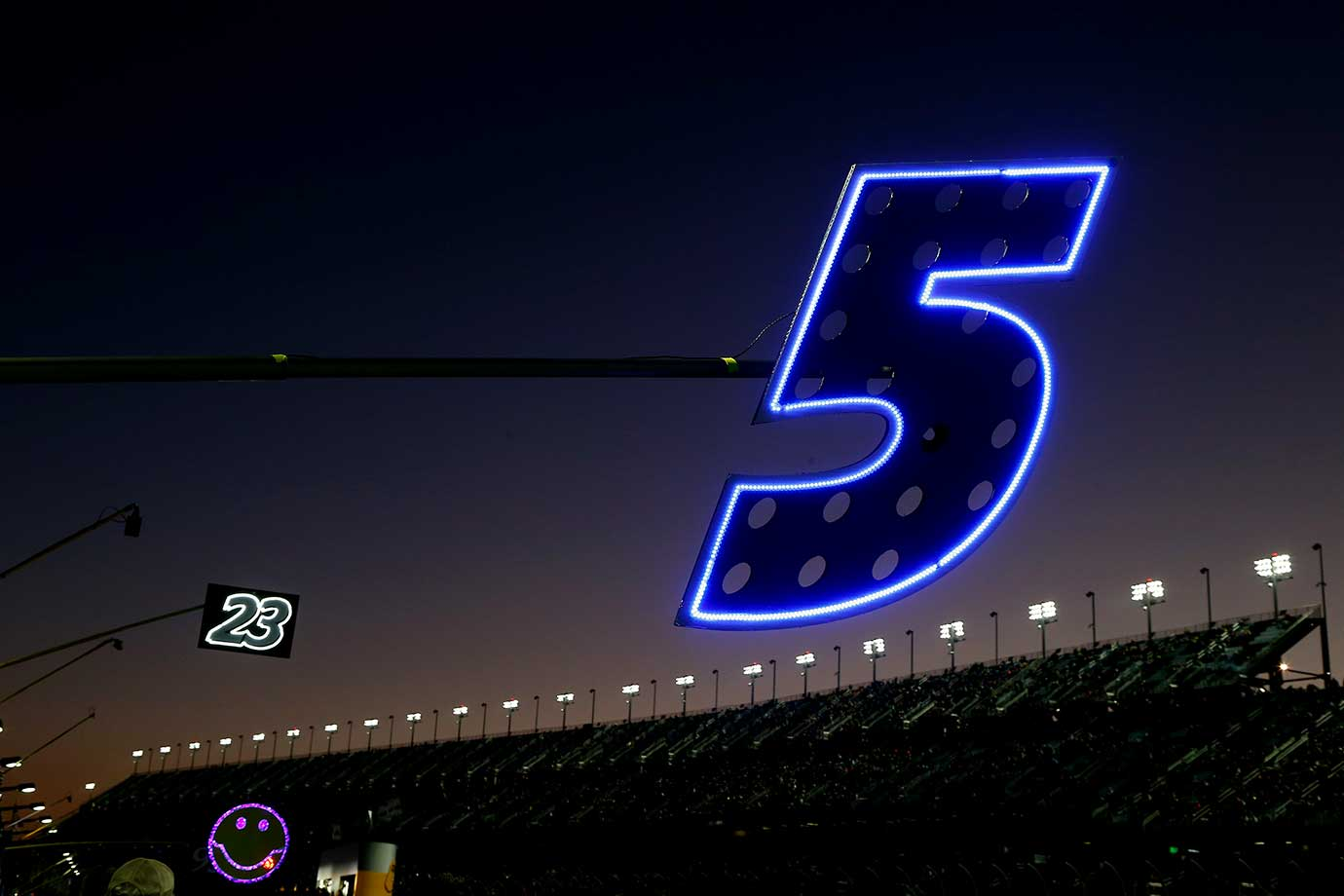 A detailed view of the pit box sign of Kasey Kahne during Thursday night qualifying for Sunday's Daytona 500.