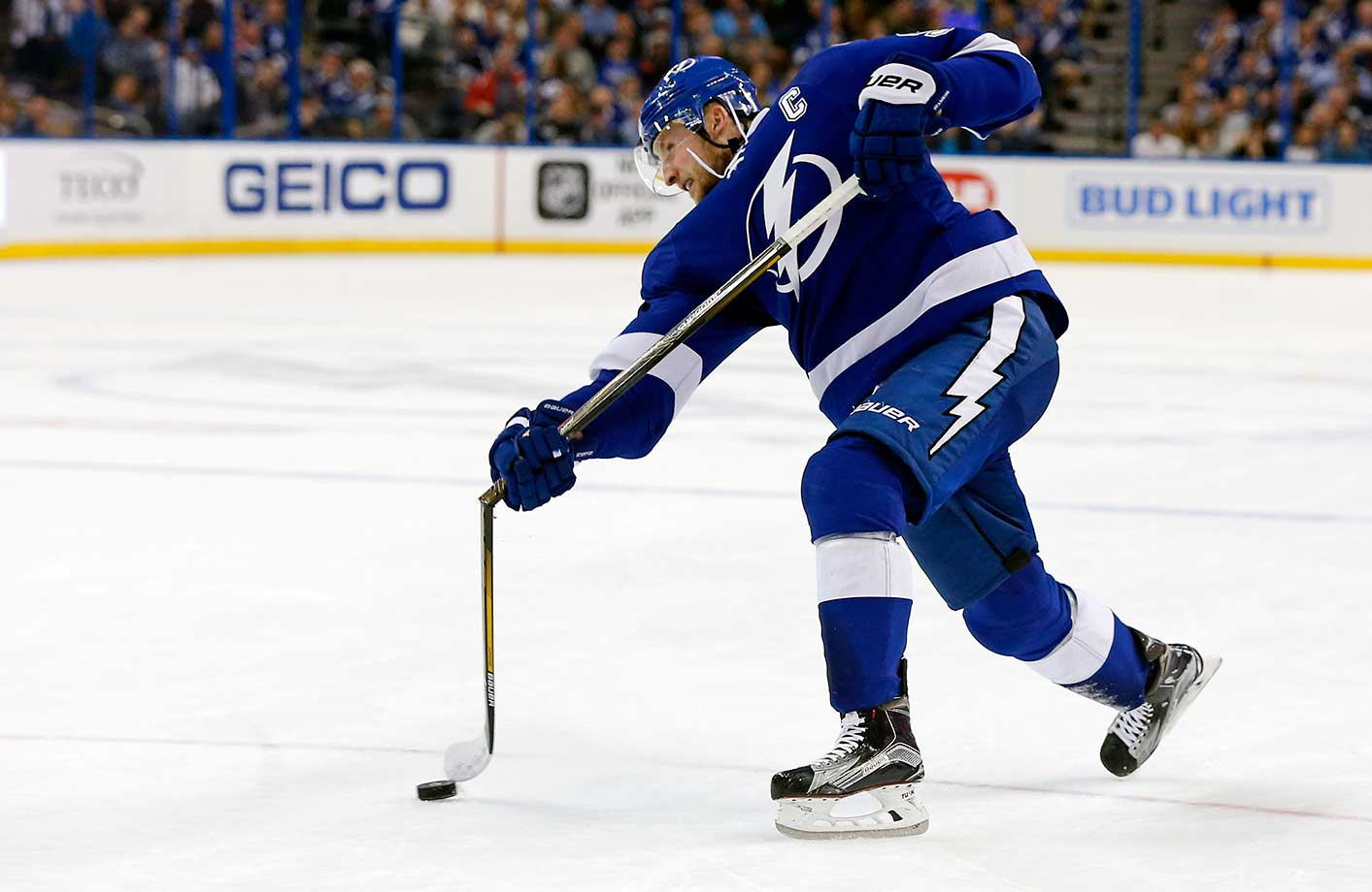 Tampa Bay's Steven Stamkos breaks his stick on a shot attempt against the Winnipeg Jets.