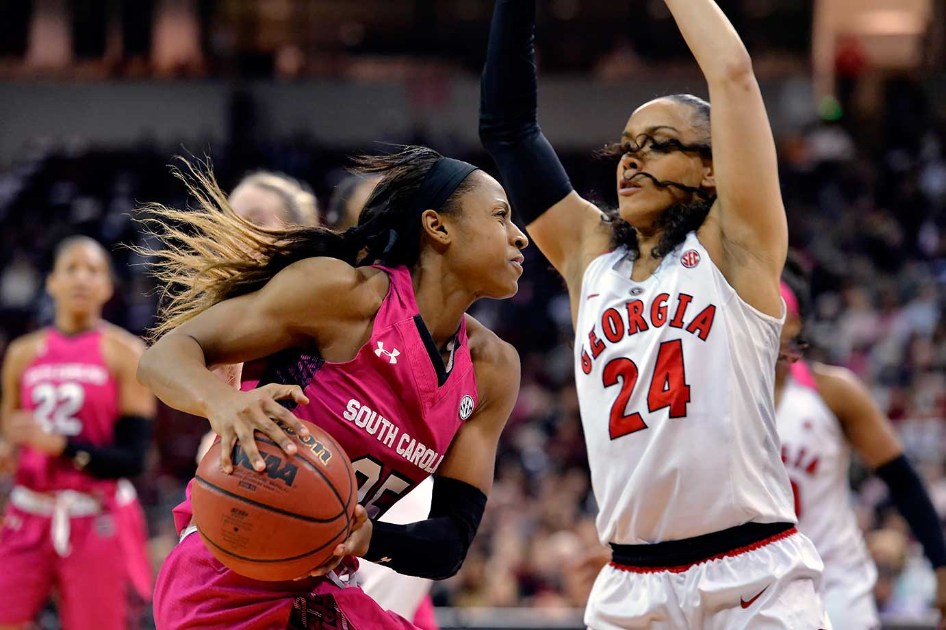 South Carolina's Tiffany Mitchell drives against Georgia's Marjorie Butler during a 61-51 home win.