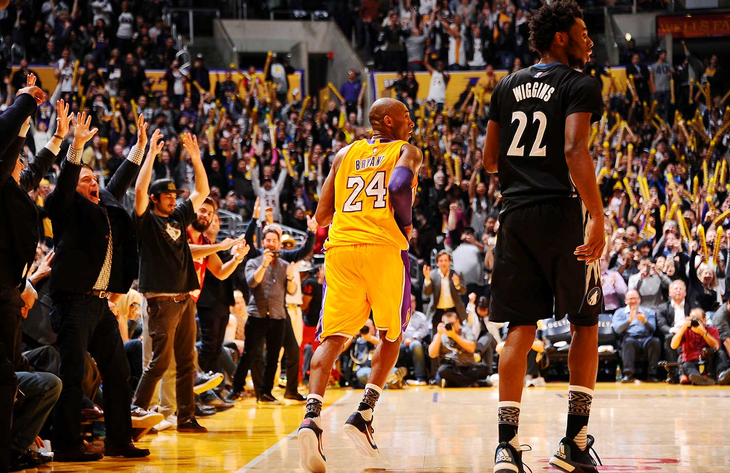 The crowd cheers Kobe Bryant on a night in which he scored a season-high 38 points in a 119-115 victory over the Minnesota Timberwolves. Kobe made 7-of-11 three-pointers for the first time since a March 28, 2008 game against the Memphis Grizzlies.