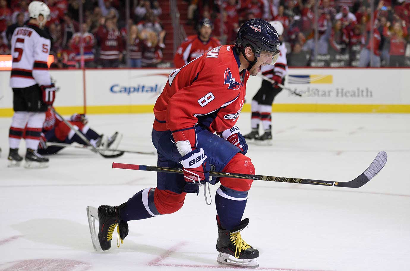 Washington Capitals left wing Alex Ovechkin celebrates his goal against the New Jersey Devils.