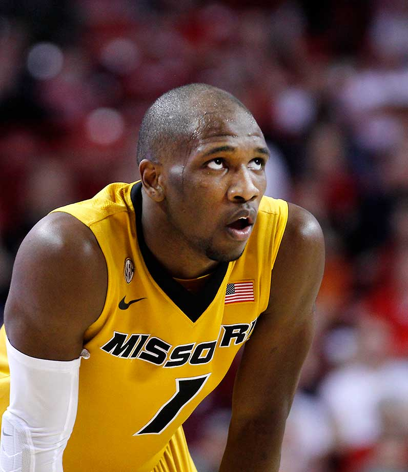 Missouri's Terrence Phillips catches his breath during a free throw against Arkansas.