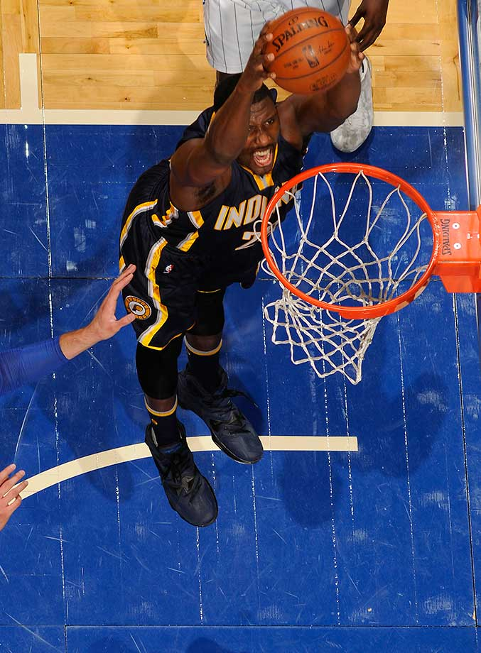 Ian Mahinmi of the Indiana Pacers dunks against the Orlando Magic.