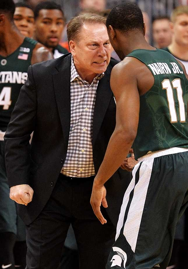 An incensed Tom Izzo lights into Lourawls Nairn Jr. of Michigan State in a game against Ohio State.