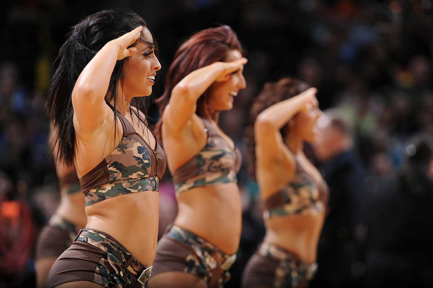 The Denver Nuggets dance team  during a game against the Sacramento Kings.