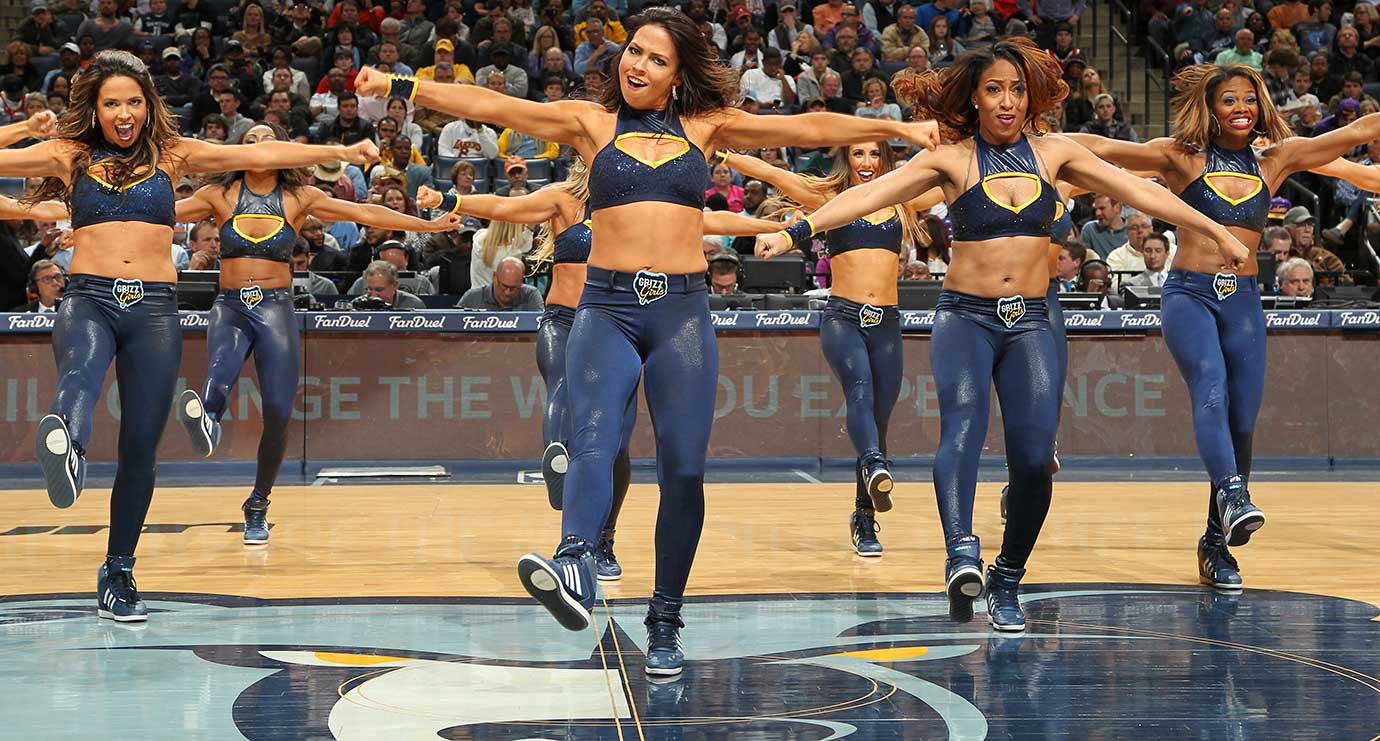 Dancers perform during the game between the Los Angeles Lakers and Grizzlies in Memphis.
