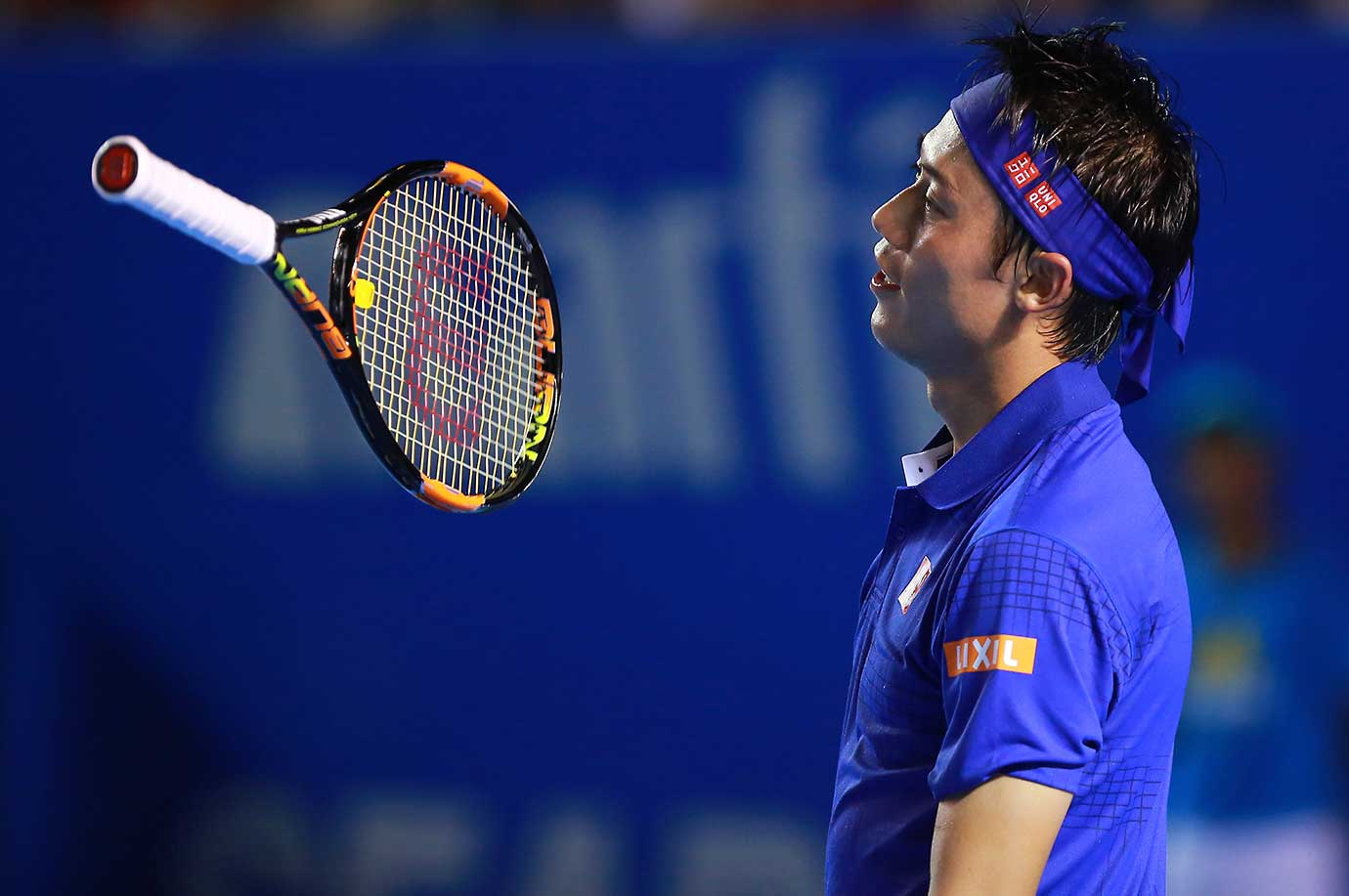 Kei Nishikori of Japan reacts during a match against Sam Querrey in Acapulco, Mexico.