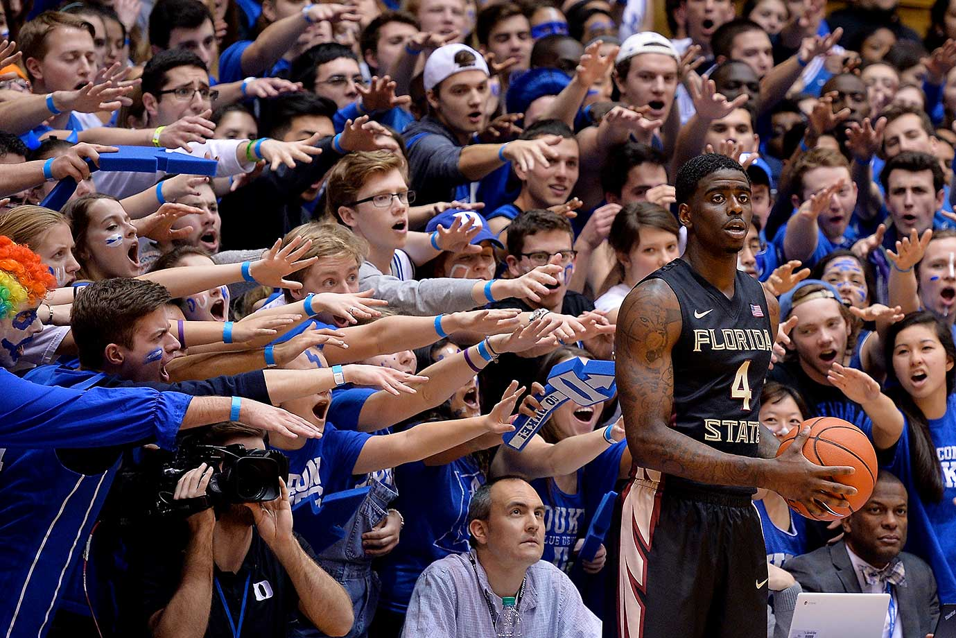 The Cameron Crazies taunt Dwayne Bacon of Florida State at Cameron Indoor Stadium.