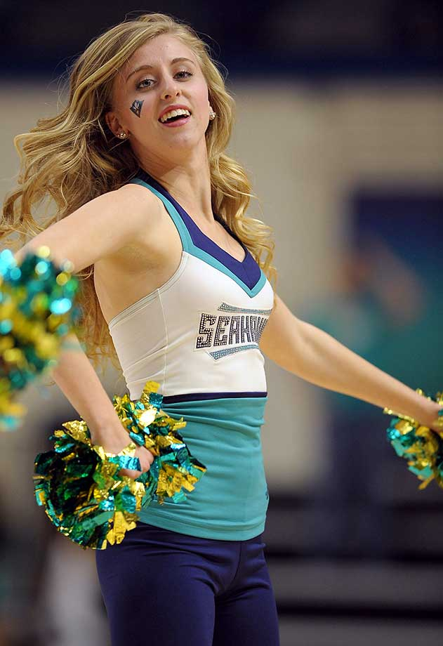 A North Carolina-Wilmington Seahawks cheerleader performs during a game against Hofstra.