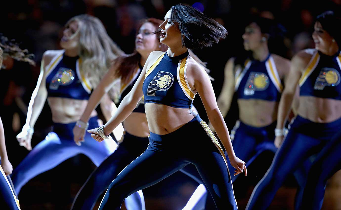 Indiana Pacers cheerleaders perform during the game against the Portland Trail Blazers.
