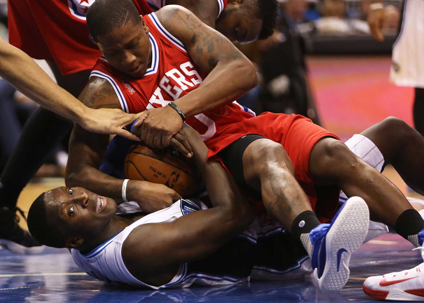 Orlando Magic guard Victor Oladipo fights for possession with Isaiah Canaan of Philadelphia.