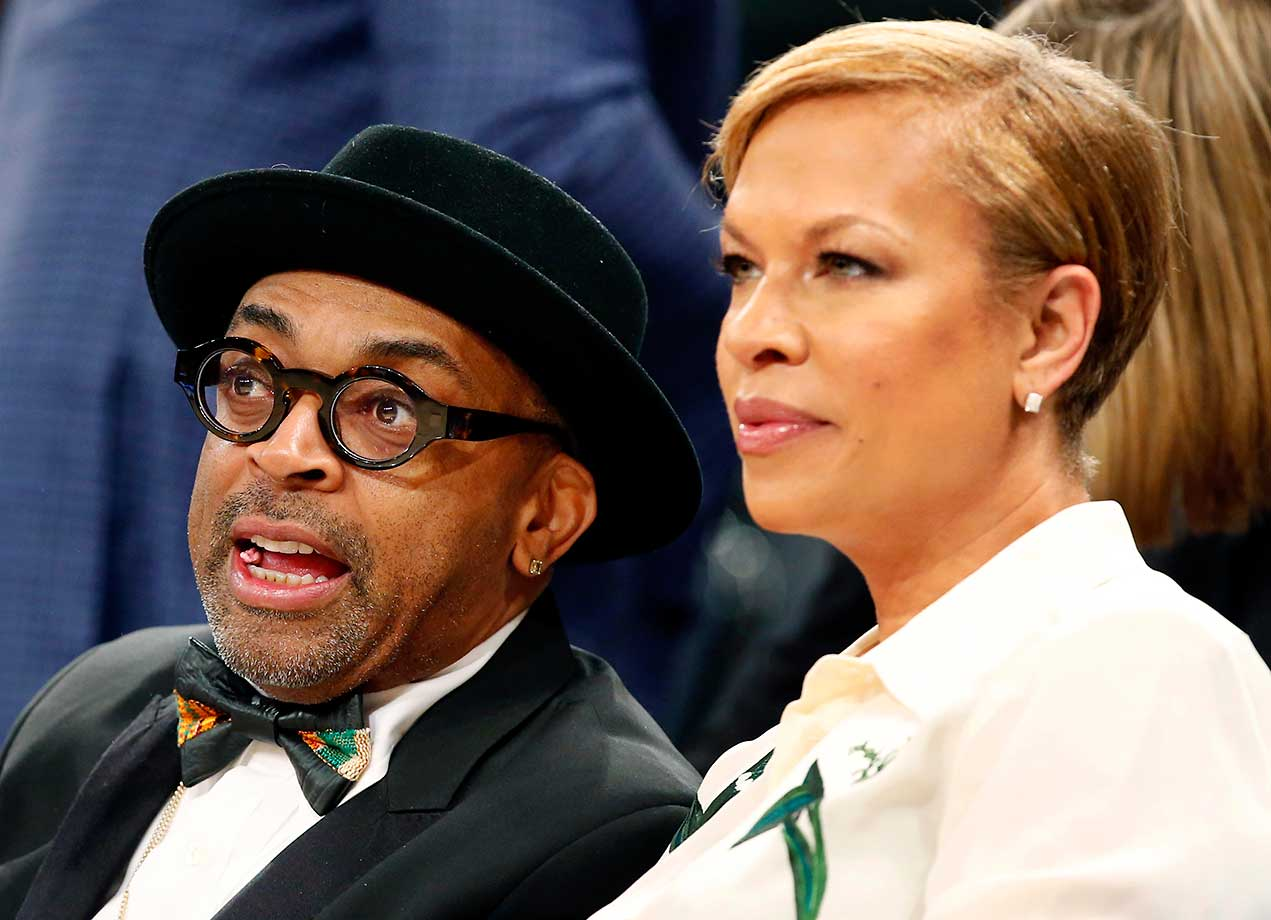 Film director Spike Lee and his wife, Tonya Lewis Lee, at the New York Knicks-Miami Heat game at Madison Square Garden.