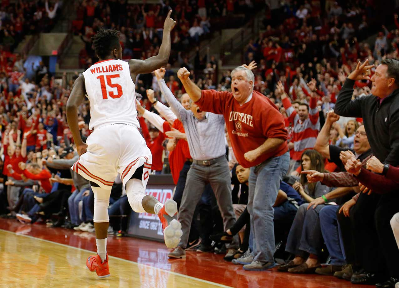 Ohio State's Kam Williams celebrates making a three-point goal late in a 68-64 win over Iowa.