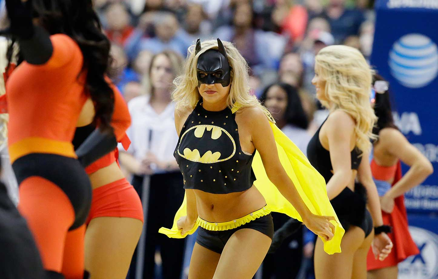 A Mavericks dancer is dressed up for Super Hero Night in Dallas.