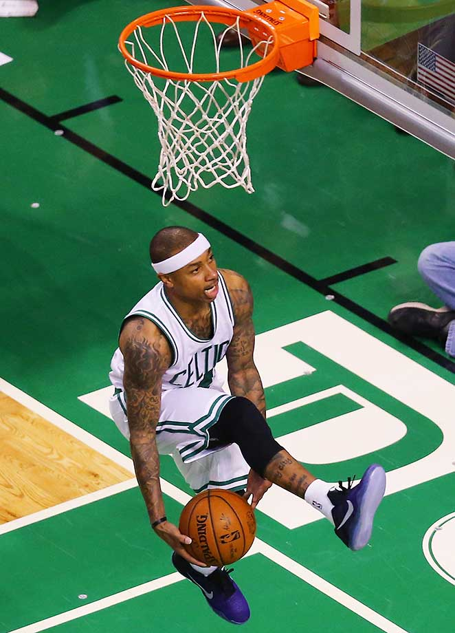 Isaiah Thomas of the Boston Celtics takes a shot against the Utah Jazz.