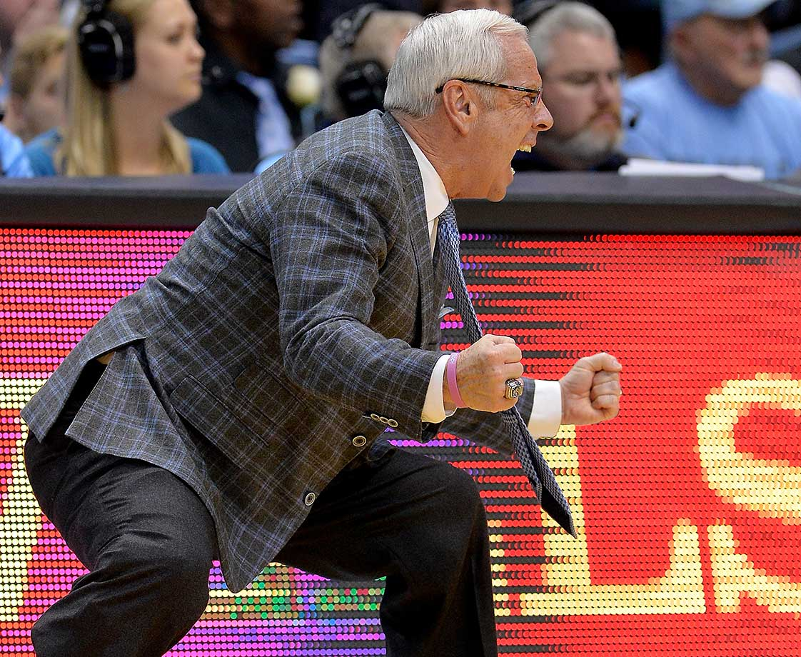 Coach Roy Williams of the North Carolina Tar Heels reacts during a game against Syracuse.