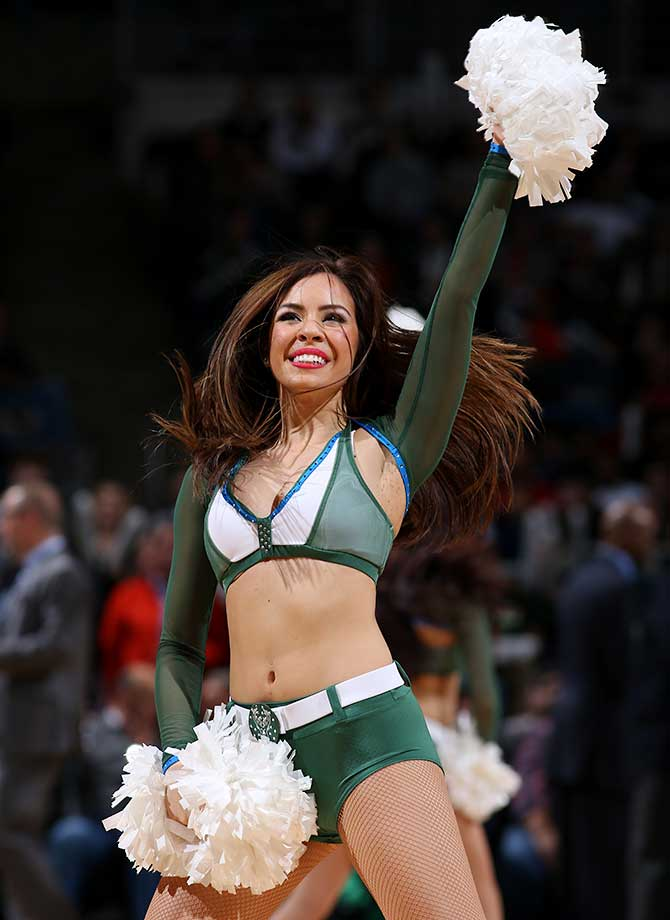 Dancers perform during the game between the Houston Rockets and Milwaukee Bucks.
