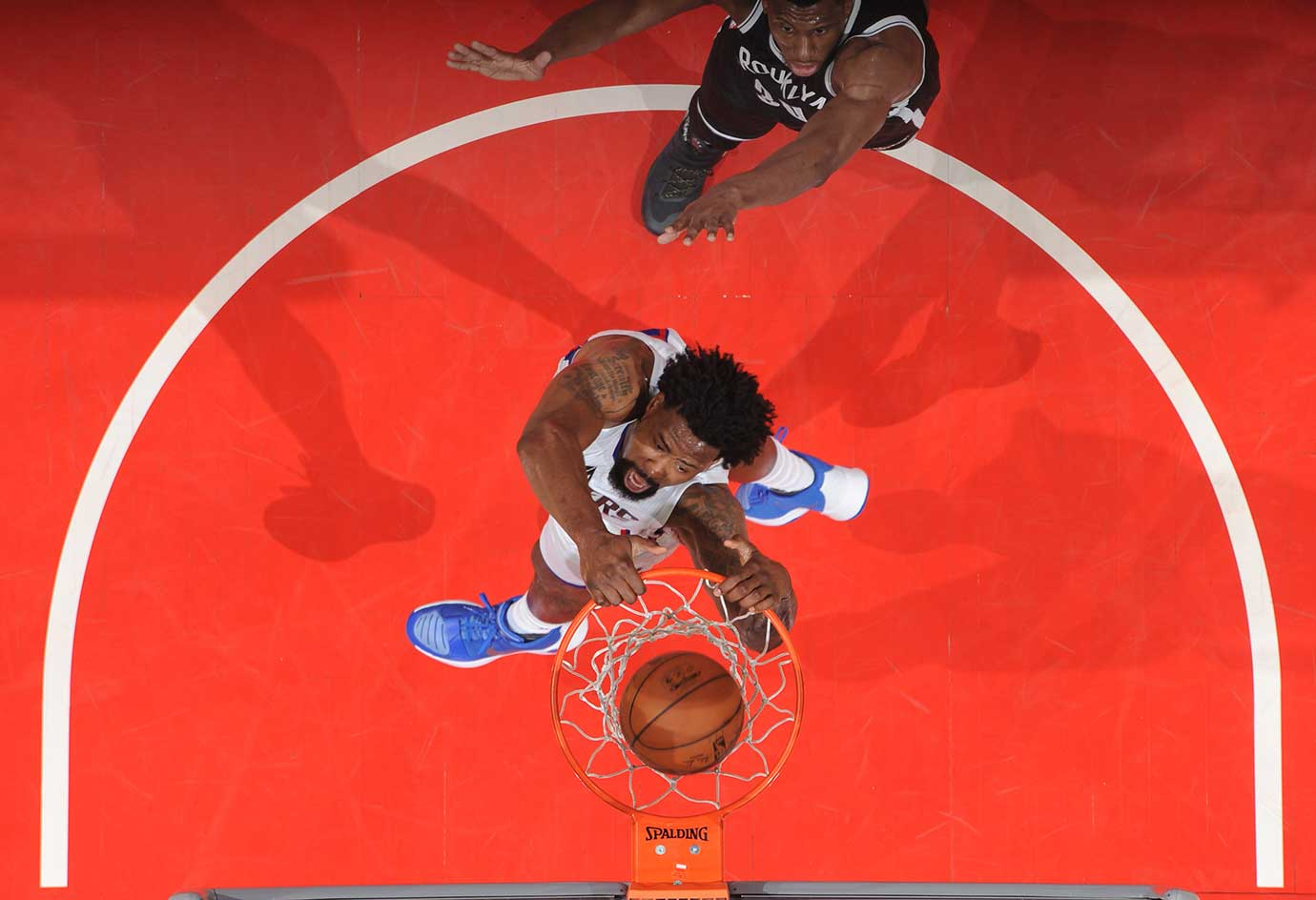 DeAndre Jordan of the Los Angeles Clippers dunks against the Brooklyn Nets.