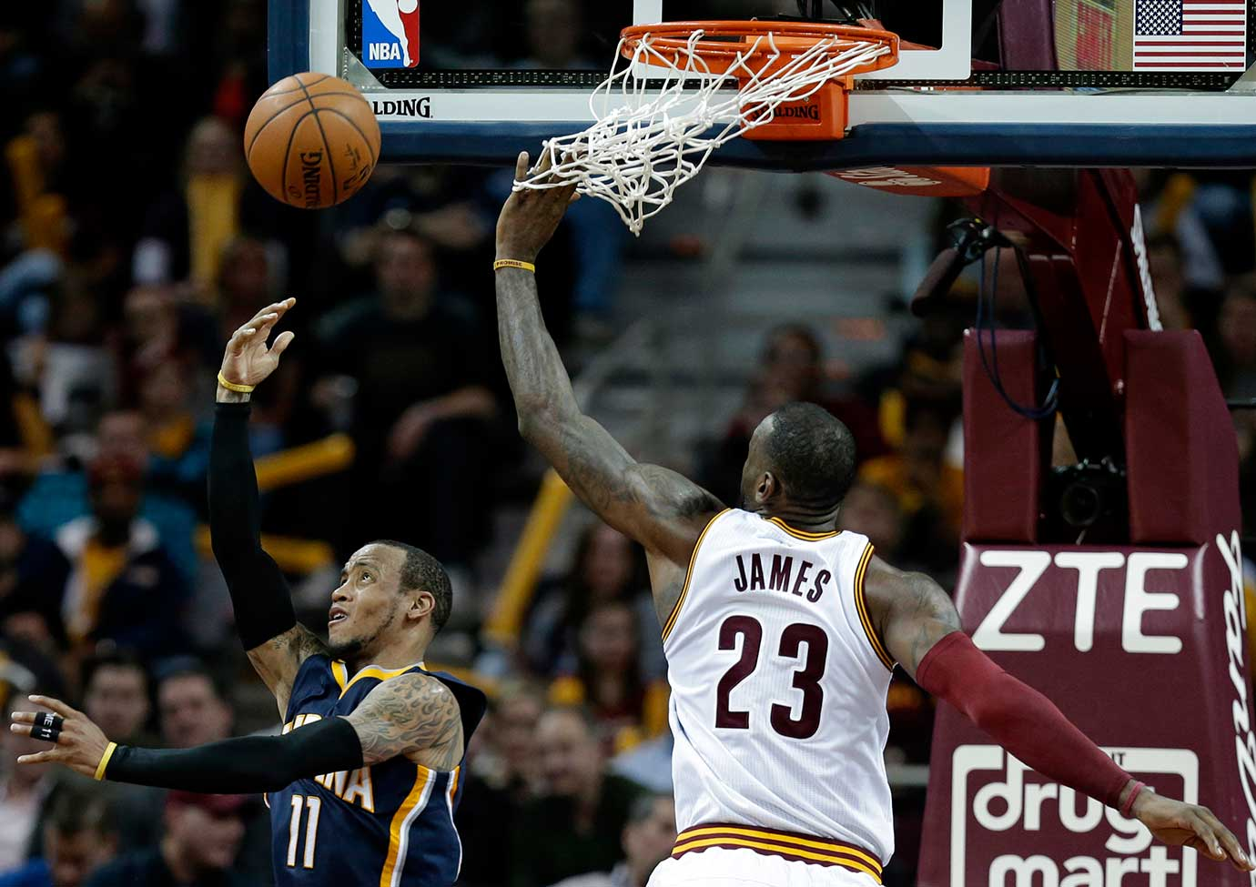 Monta Ellis of the Indiana Pacers drives to the basket against LeBron James.