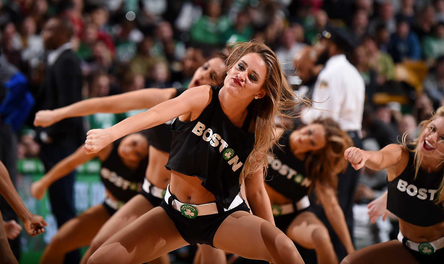 The Boston Celtics dance team is seen during the game against the Detroit Pistons at the TD Garden in Boston