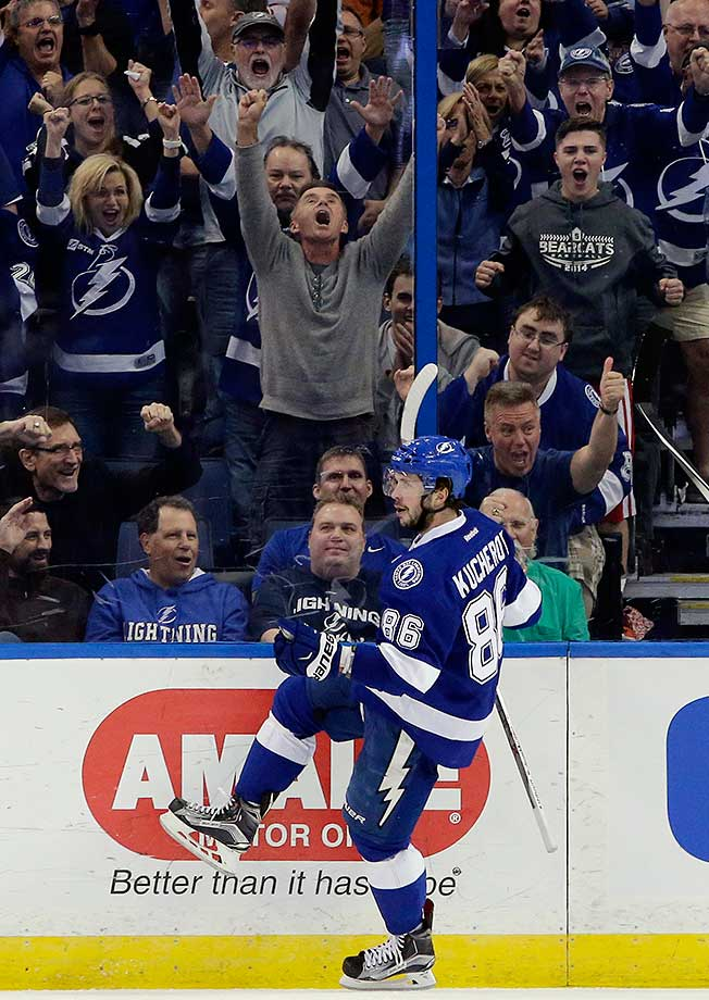 Tampa Bay Lightning right wing Nikita Kucherov celebrates after scoring against the Detroit Red Wings in Tampa, Fla.