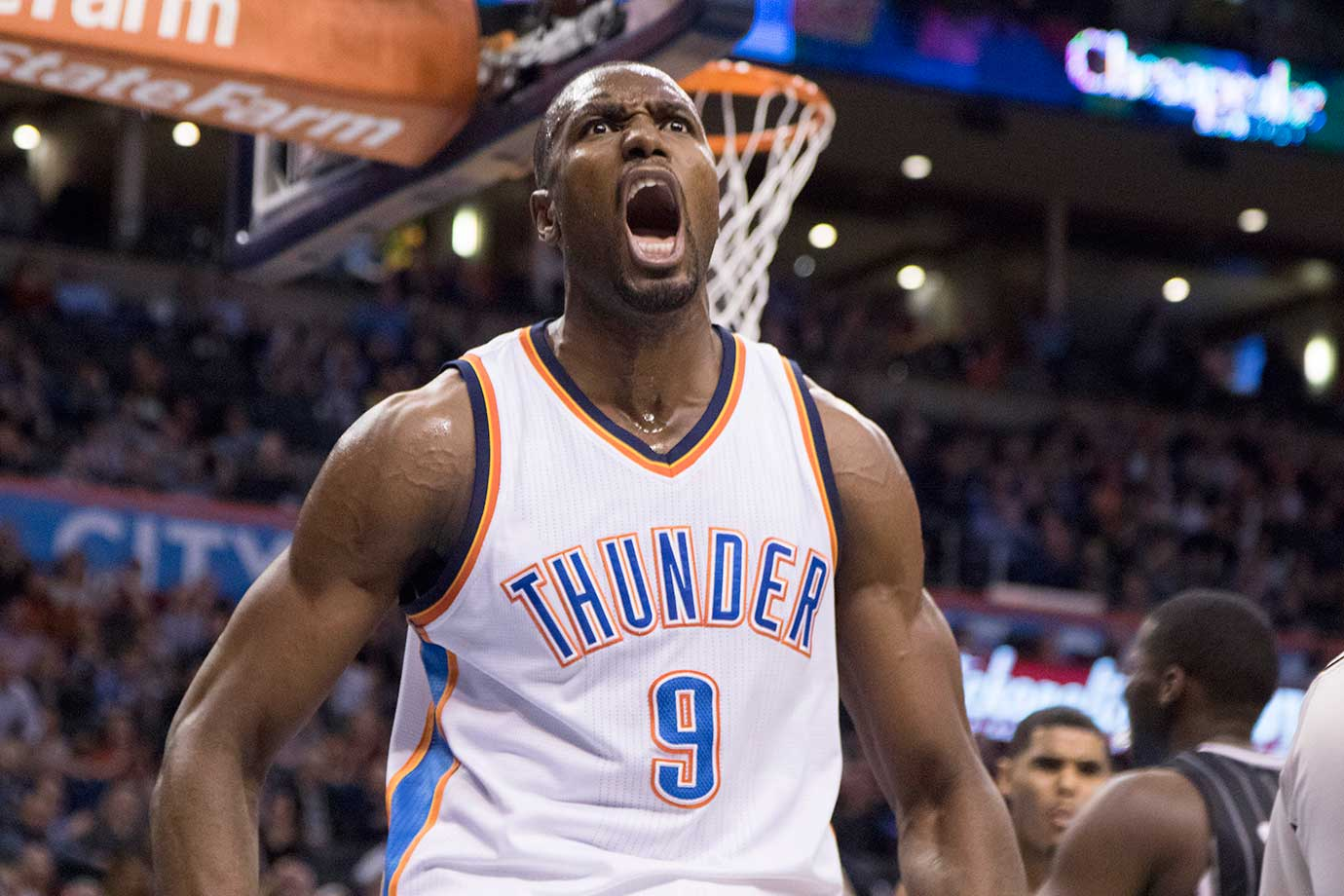 Oklahoma City Thunder forward Serge Ibaka reacts after he was fouled while making a two point shot against the Orlando Magic in Oklahoma City. The Thunder won 117-114.