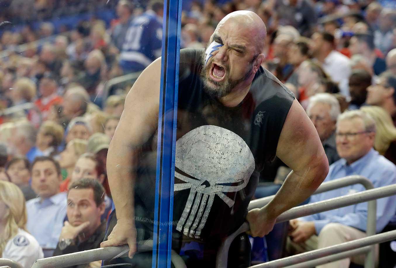 A Tampa Bay Lightning fan taunts Detroit Red Wings goalie Petr Mrazek.