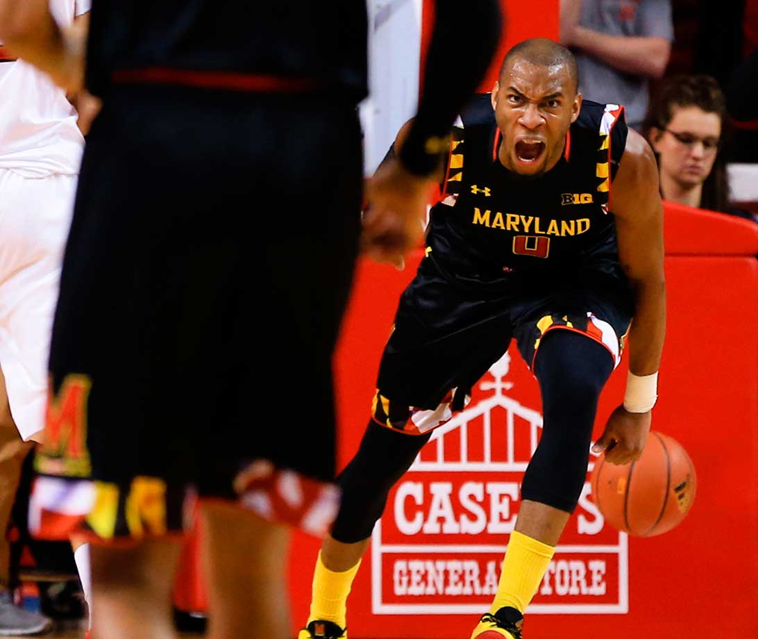 Maryland's Rasheed Sulaimon reacts after a dunk against Nebraska in Lincoln.