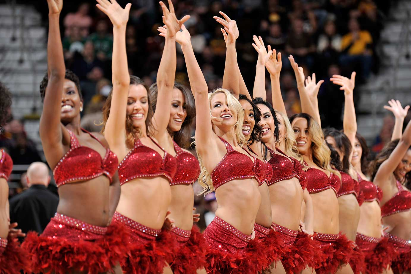 The Cleveland Cavaliers dance team performs during the game against the Boston Celtics.