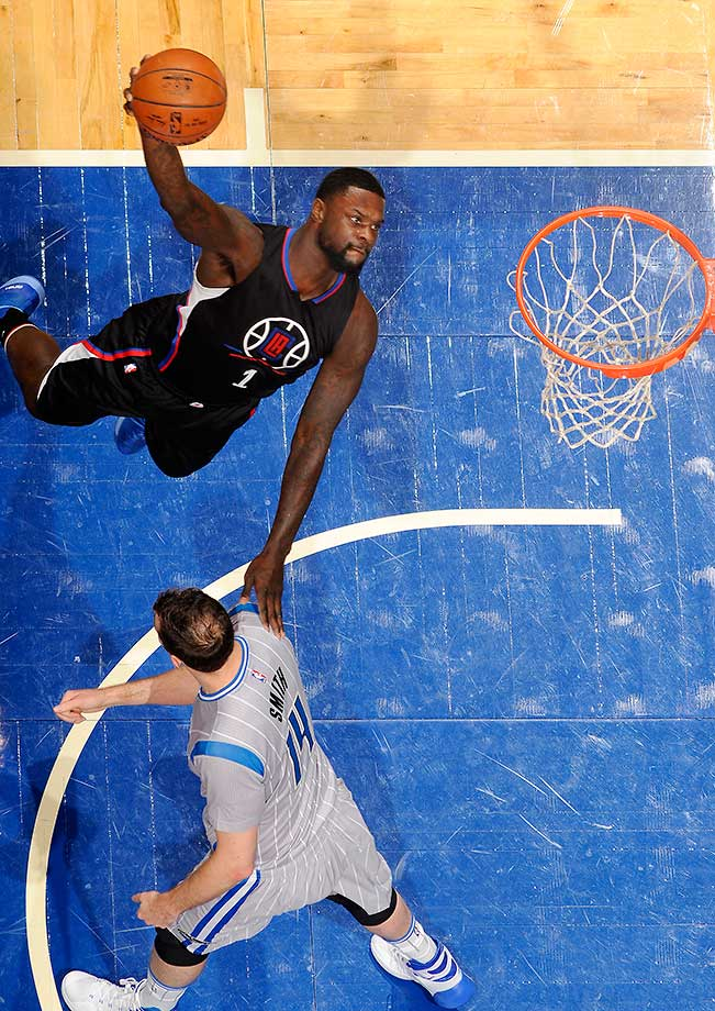 Lance Stephenson of the Los Angeles Clippers goes for a dunk against the Orlando Magic at Amway Center in Florida.