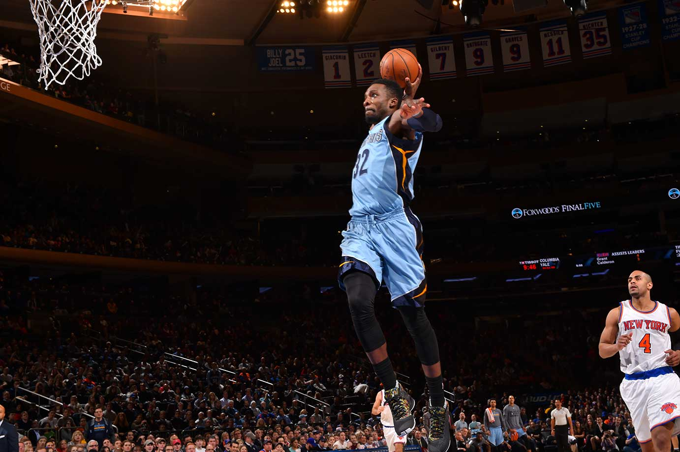 Jeff Green of the Memphis Grizzlies goes up for the dunk against the New York Knicks at Madison Square Garden.