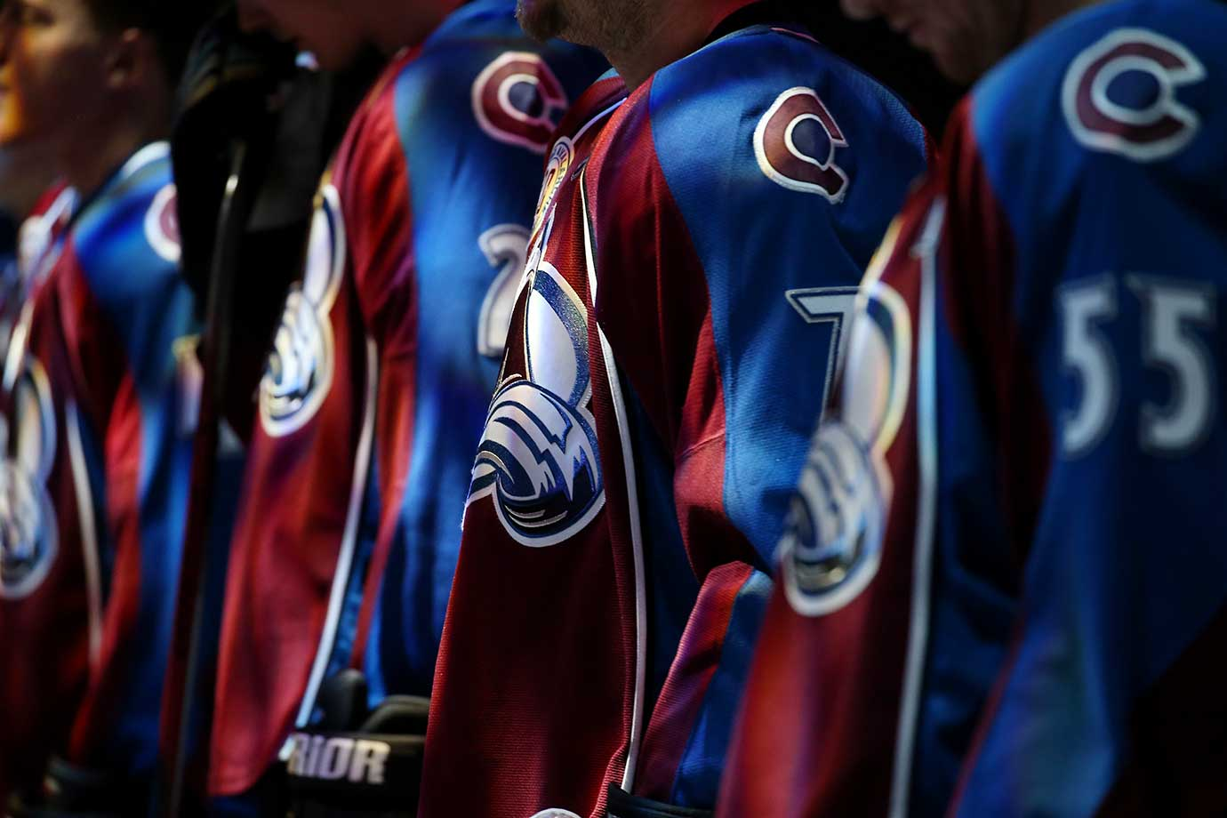 Members of the Colorado Avalanche stand for the National Anthem prior to their game against the Dallas Stars at the Pepsi Center in Colorado.