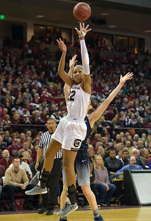 A'ja Wilson of South Carolina puts up a shot against the Connecticut Huskies.