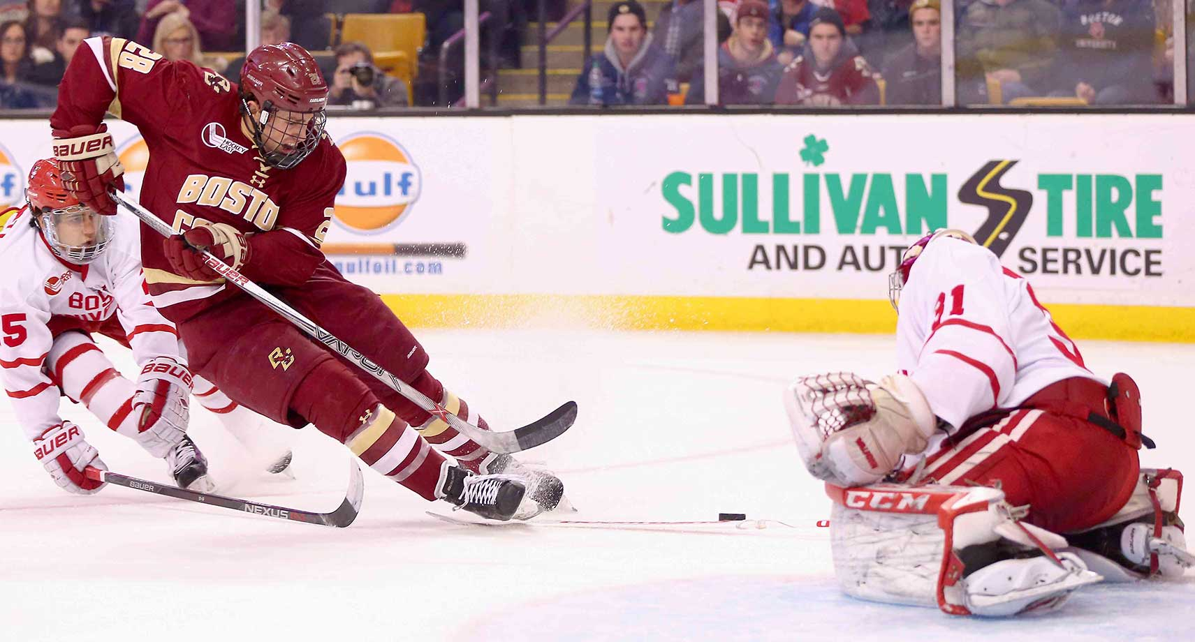 Miles Wood of Boston College shoots during the Beanpot Tournament championship game against Boston University.