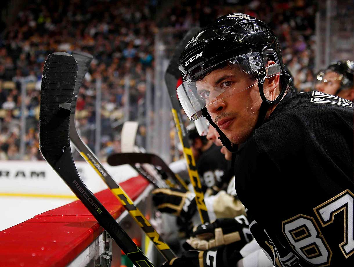 Sidney Crosby of the Pittsburgh Penguins looks on during a 6-2 win over the Anaheim Ducks.