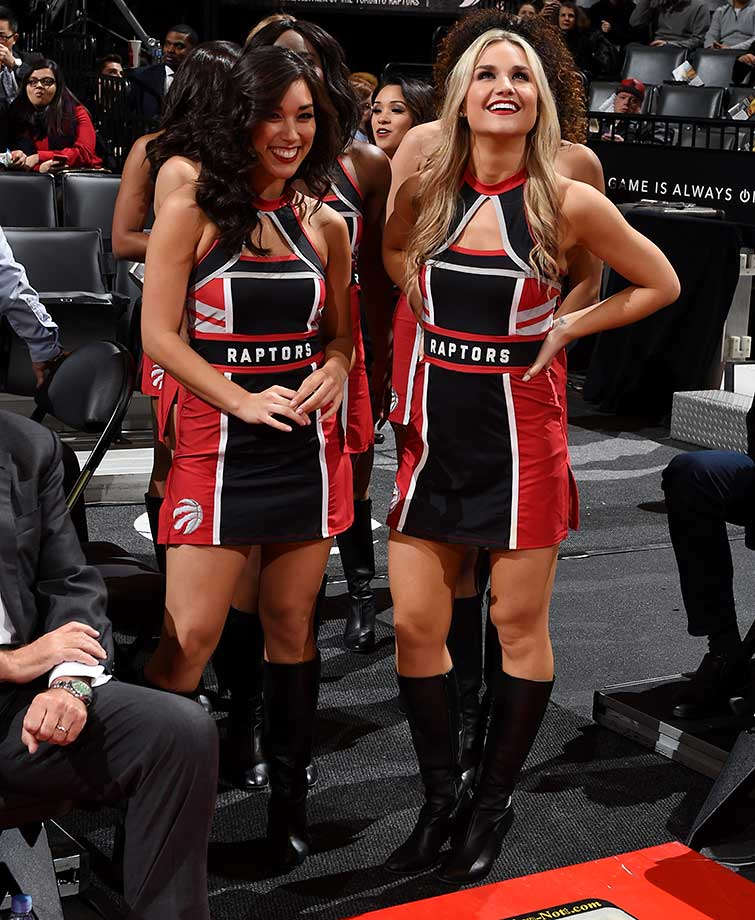 The Toronto Raptors dance team is seen before the game against the Boston Celtics at the Air Canada Centre in Ontario.
